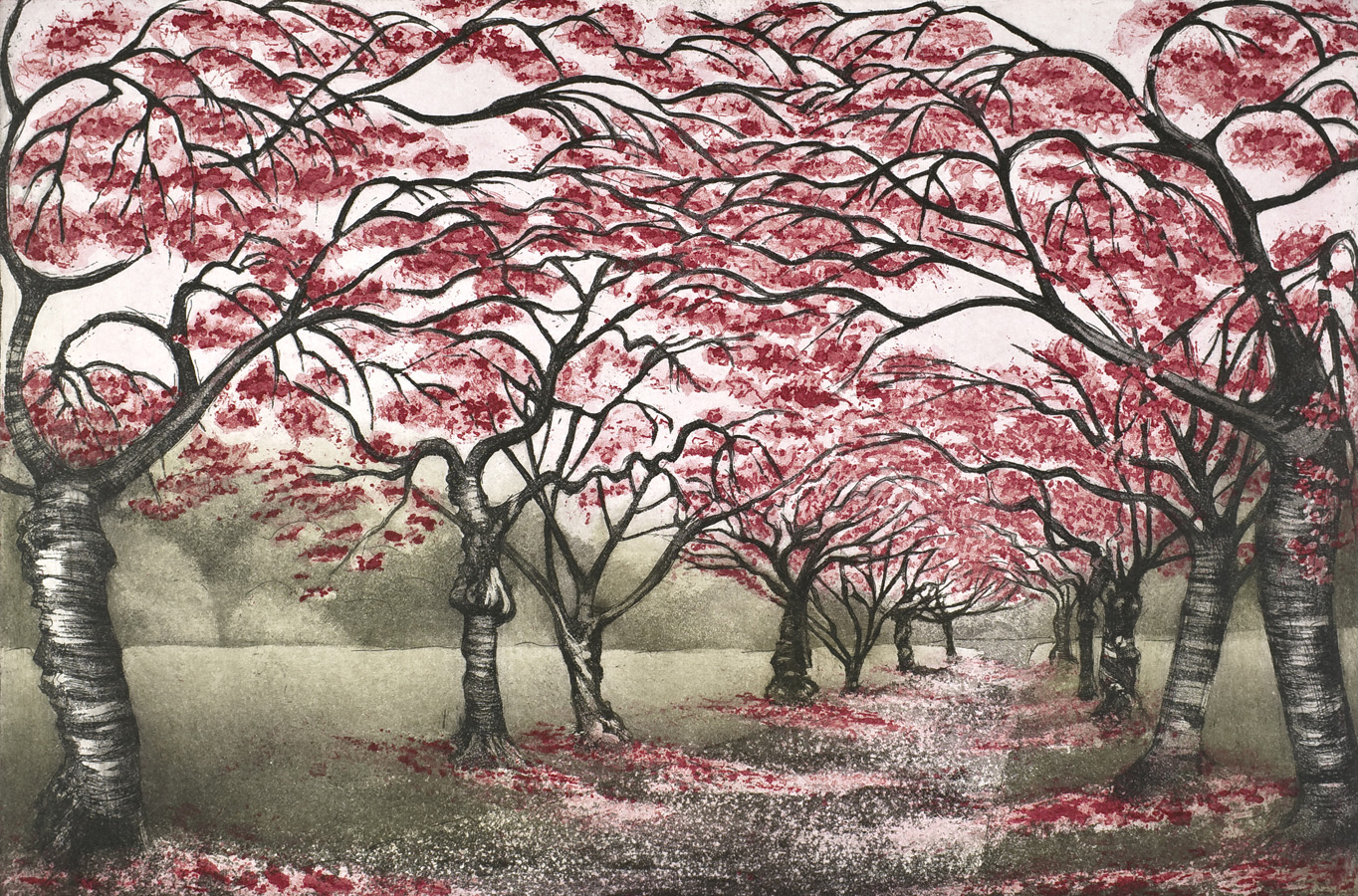 'Cherry Blossom Walk' by Morna Rhys